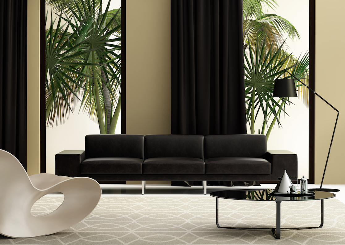 Aria On-Site Carpet and Drapery Cleaning Contemporary living room with leather sofa and a garden